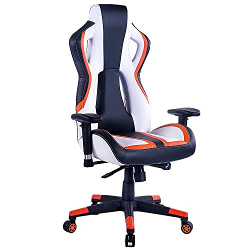 HEALGEN Gaming Chair Racing Style High-Back PU Leather Office Chair PC Desk Chair Executive and Ergonomic Swivel Chair (907 Orange)