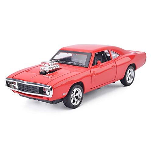 YNHNI 1/32 Dodge Charger 1970 Modelo original de simulación de coche, juguetes de metal para adultos modelo preconstruido (color: rojo)