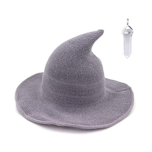 FASHIXD Womens Witch Hat Wizard Kinitted-Wool Hats Adult Costume Party Accessory Halloween Masquerade Cosplay Cap (Light Gray)
