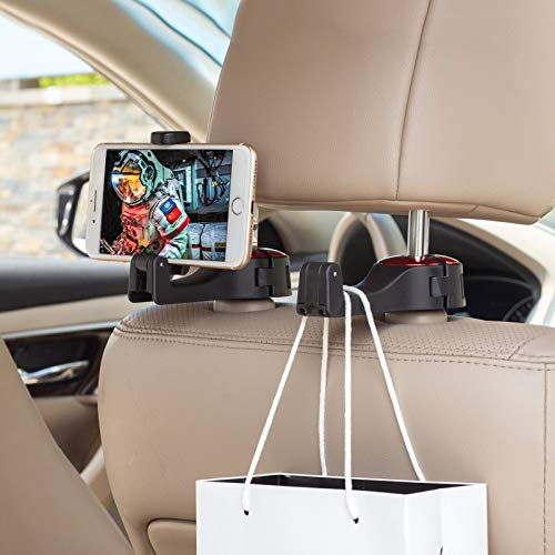 Car Hooks, Car Seat Back Hooks with Phone Holder, Universal Multifunctional Car Vehicle Back Seat Headrest Mobile Phone Holder Hanger Holder Hook for Bag Purse Cloth Grocery-(Set of 2)