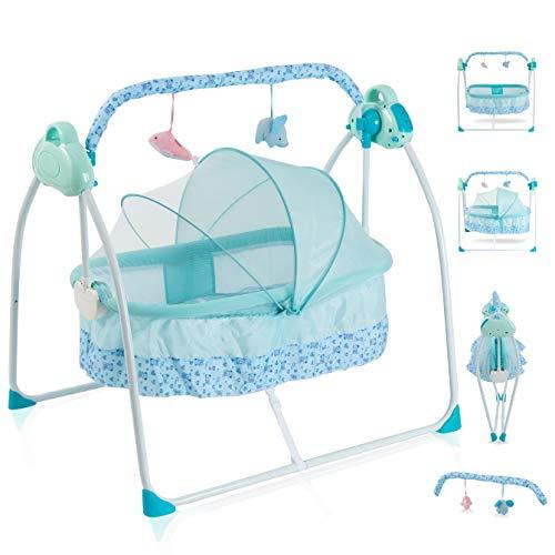 Babywiege Elektrisch Schaukelfunktion Zusammenklappbare und Tragbare Babykörbchen mit 3 Schaukelgeschwindigkeiten Wiege Baby Lautstärkeregulierung und Abnehmbarem Spielzeugbügel Stubenwagen-Set