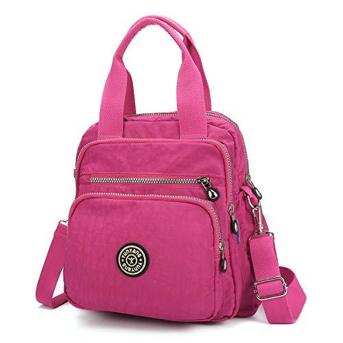JOSEKO Mode Umhängetasche, Wasserdicht Rucksack Damen Nylon Schultertasche Fraun Handtasche Multifunktion Schulrucksäcke für Mädchen Freitzeit Schule Ausflug Einkauf (Rose#02)
