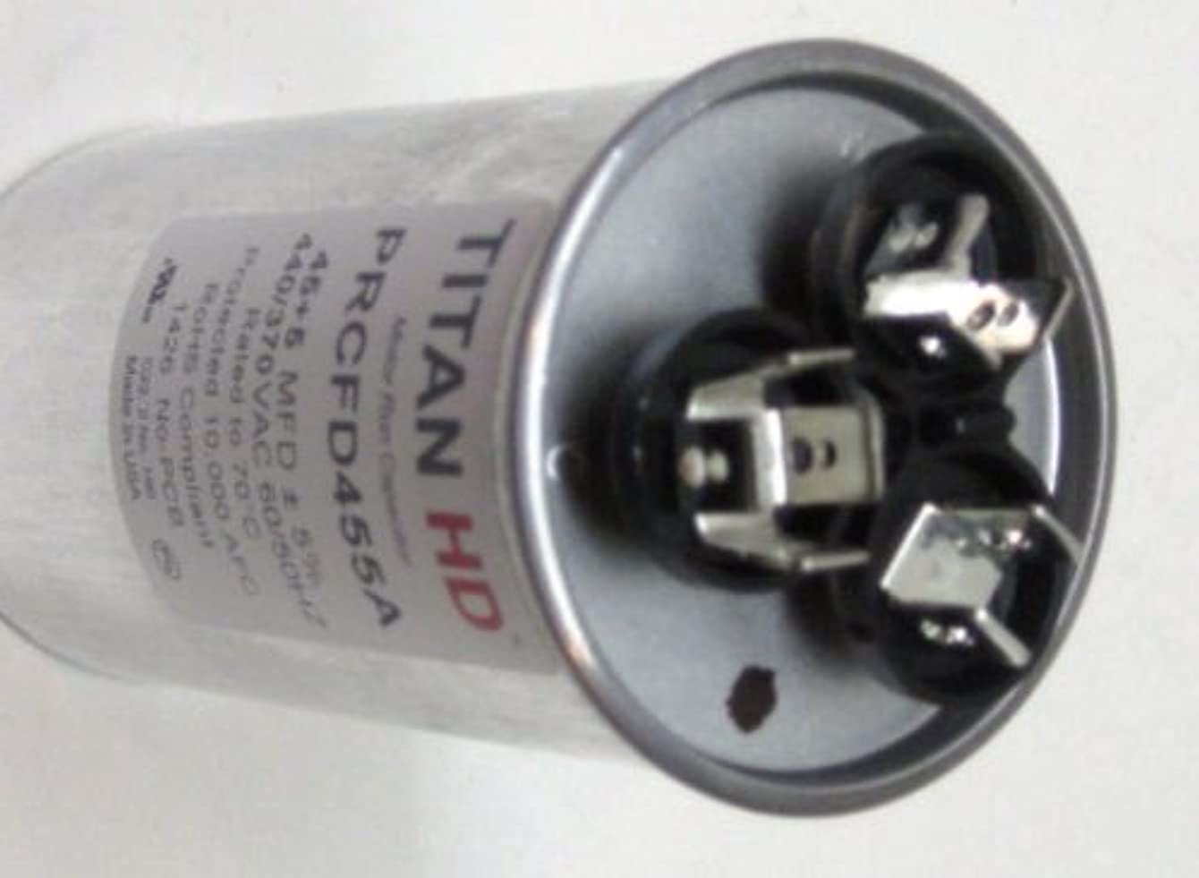 Room Air Conditioner Replacement Parts TitanHD PRCFD455A American-Made HVAC Round Motor Run Dual Capacitor. 45/5