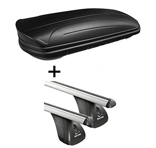 Dachbox VDPMAA320 320Ltr abschließbar schwarz matt + Alu Dachträger Aurilis Original kompatibel mit BMW Serie 5 (E60) (4Türer) 2003-2010