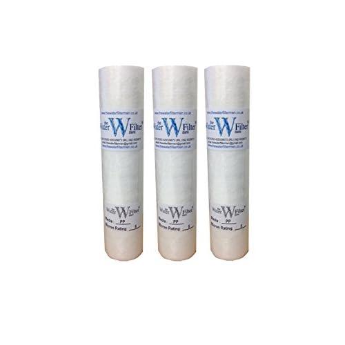 PP Osmose inverse Lot de 3 cartouches filtre à sédiments 5 microns Pour Osmose inverse, lances à eau et traitement de la dureté de l'eau de puits 25 cm
