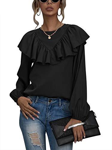 Auxo Mujeres Cuello Redondo Linterna Manga Larga Tops Color Sólido Capa Volantes Casual Blusa Gasa Suelta Camisa Túnica Blusa Talla Grande 03-Negro S