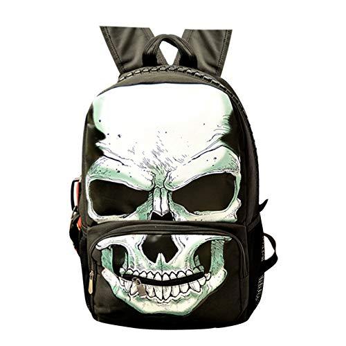 Unisexe Skull Sacs à Dos Sac à Dos de Voyage en Plein air Anti-vol pour Le Camp de l'école de Campus résistant à l'eau pour Les Femmes (Color : A01, Size : 31 X 19 X 44cm)