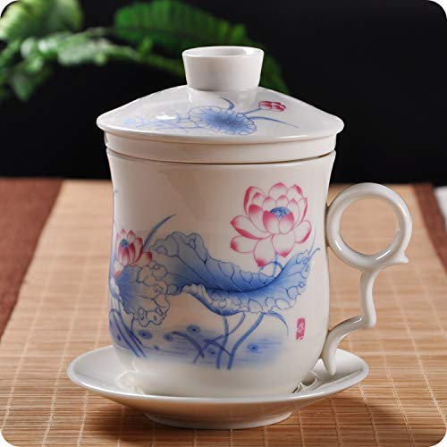 PPuujia Taza de cerámica de porcelana azul y blanco para oficina de cuatro piezas con tapa, incluye equipo de filtro, taza de almuerzo personal para conferencias de regalo (color 7)