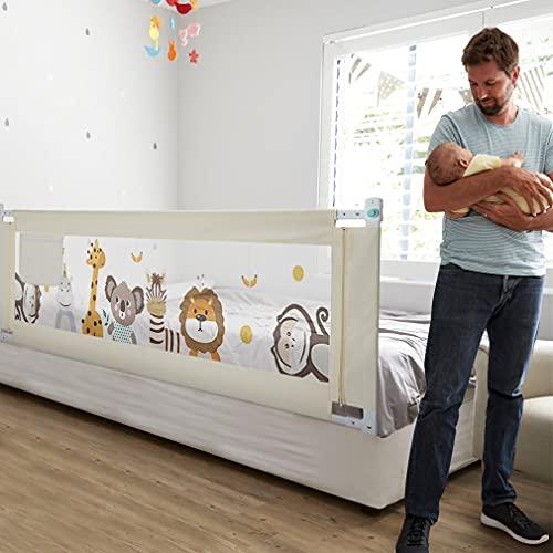 Fascol Barandillas de la Cama Infantil de Acero Carbono, Ajustable para Niños de 0 a 7 años, Barrera de Seguridad Anti-caída para Bebés Portátil y Estable, 180 X 93 cm, Blanco