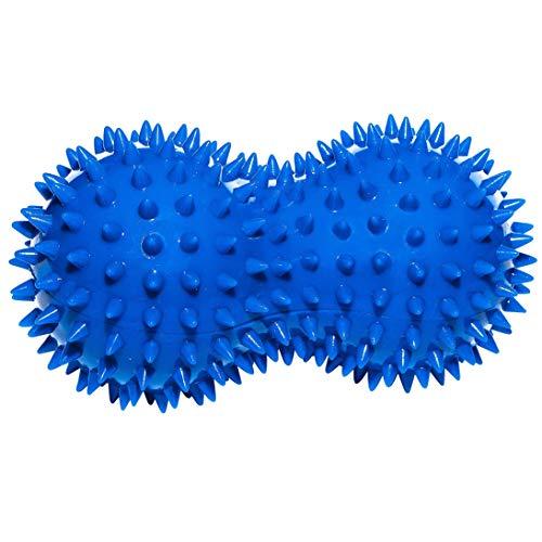 Sport-Thieme Noppenball Duo | Mini Igelball, handlicher Massageball für Fuß, Hand, Rücken, Beine, Gesicht | LxBxH: 14x7x7 cm | 150g | Gummi, Kunsstoff | Blau | Markenqualität