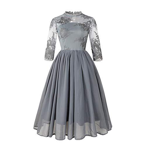 MAYOGO Vintage Kleid Damen Elegant Vintage 50er Cocktailkleid Spitzenkleid Tüll Ärmel Retro Party Rockabill Kleider Abendkleid