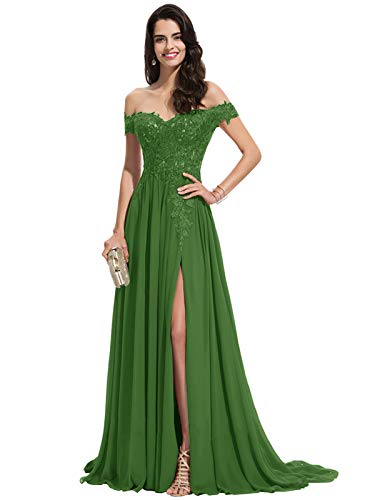 Women's Off The Shoulder Appliques Lace Evening Dress with Slit Long Chiffon Bridesmaid Dresses Olive Green Size 24