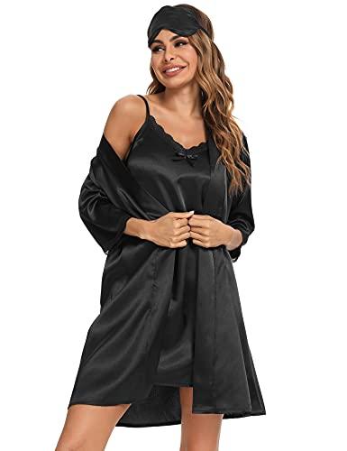 Doaraha Camison Sexy Mujer Albornoz Elegante Seda Satén Batas Kimonos Babydoll Ropa Interior Vestidos Ropa de Dormir Conjuntos de Lencería Dos Piezas (Negro, M)
