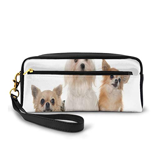 Pencil Case Pen Bag Pouch Stationary,Chihuahua And Maltese Breed Dogs Look Same...