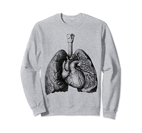 Corazón humano pulmones Anatomía médica de la antigüedad Sudadera