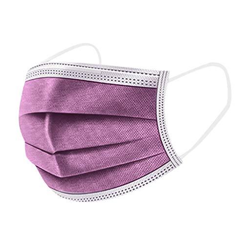 Lulupi 10-100 Stück Einweg Mundschutz Erwachsene Einmal Mund-Nasenschutz Bedeckung Einfarbige Atmungsaktive Bandana Mundbedeckung Multifunktionstuch Halstuch(50pcs,Lavendel)
