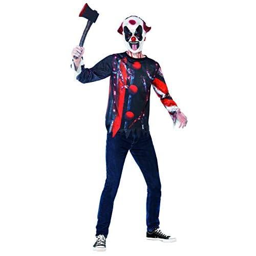 Smiffys Kit Clown Sinistro Inquietante, comprende Top e Maschera in Lattice, Stampa a su