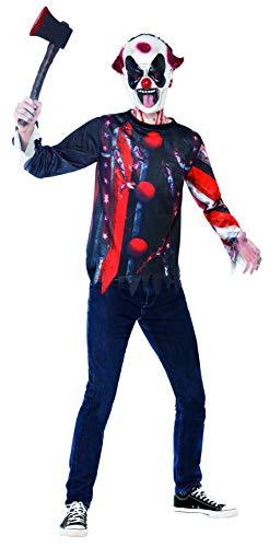 Halloween! Smiffys Set Böser Gruselclown, mit Oberteil und Latexmaske, Sublimationsdruck