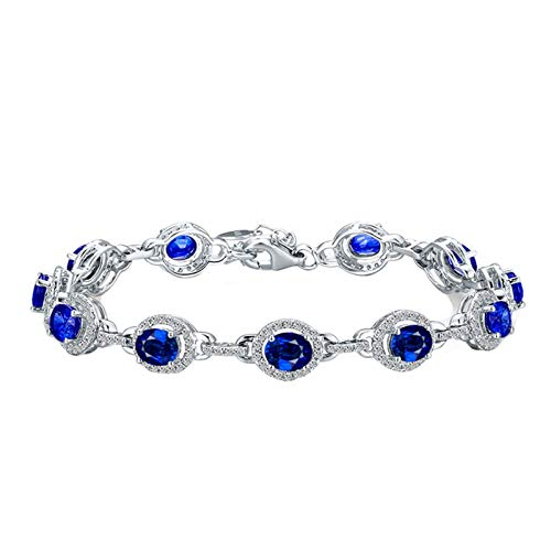 Beydodo Pulseras Mujer Plata Azul,Pulsera Oro Blanco 18k Oval y Zafiro 2.75ct Longitud 17cm + 2cm