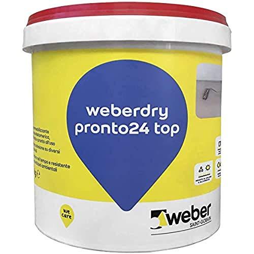 weberdry pronto 24 top Impermeabilizzante a base elastomerica pronto all'uso, bianco, 5 kg