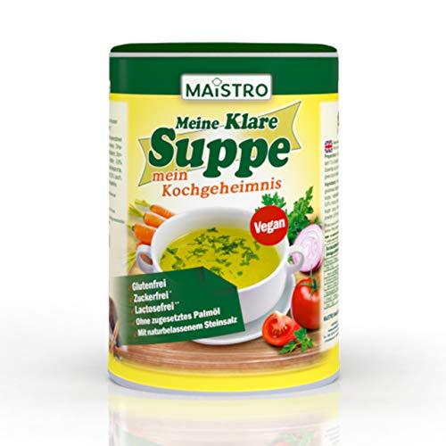 Brodo vegetale vegano e condimento, senza grilletto allergenico, senza grasso di palma, semplice, veloce e preparato deliziosamente. Zuppa di verdure 220g/11 litri con salgemma naturale