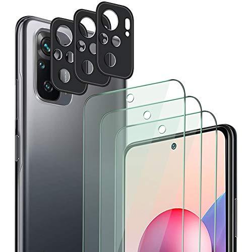 QHOHQ 3 Stück Schutzfolie für Xiaomi Redmi Note 10/Note 10S (Ungeeignet Note 10 5G) mit 3 Stück Kamera Schutzfolie, Panzerglas Membran, 9H Härte - HD - Anti-Kratz - Blasenfrei - Einfach Installieren