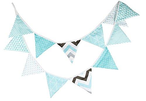 Banderines de tela para fiestas, cumpleaños, aniversario de boda o bautizos, multicolor Tiffany Blue