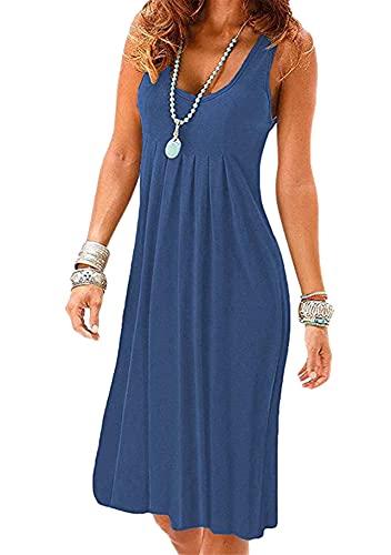 Yming Damen Rundhals Kleid Einfarbig Ärmellos Kleid Casual Strandkleid Dunkel Blau L