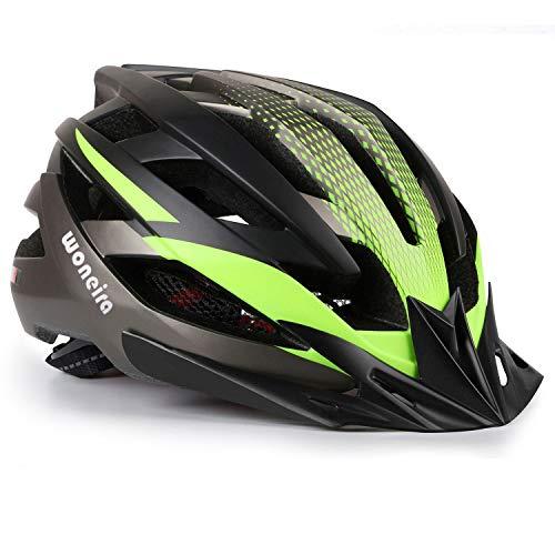 WONEIRA Casco Bicicleta con Visera,Certificación CE Ligera Casco Bicicleta,Luz LED Recargable &...