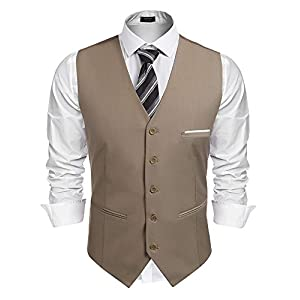 COOFANDY Men's V-Neck Suit Vests Fashion Formal Slim Fit Business Dress Vest Waistcoat