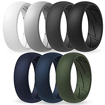 ThunderFit Silicone Wedding Rings for Men - 7 Rings  Light Grey Dark Grey Dark Blue White Black Dark Teal Olive Green 8.5 - 9  18.9mm