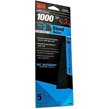 3M Auto Advanced Wetordry Sandpaper, 03001, 1000 Grit, 3 2/3 inch x 9 inch