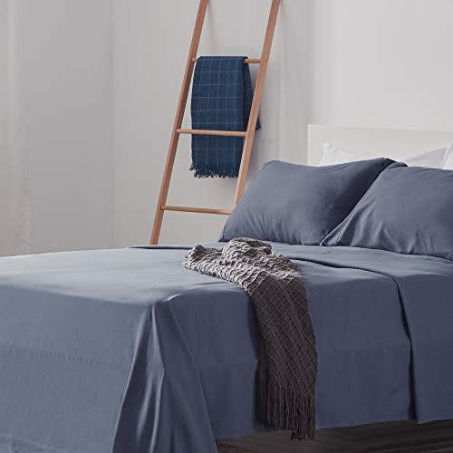 SLEEP ZONE Bed Sheet Set Cooling with Nanotex Moisture Wicking Technology Double Brushed Soft Wrinkle Free Fade Resistant Easy Care Sheets 4 PC, Flint Blue,King