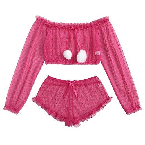 Lenceria Sexy Mujer Sujetador y Panty Conjunto Ropa Interior Babydoll Pijamas Mujer Conjunto de Lencería de Encaje Atractiva De Muselina de Dormir de TentacióN Deep V Transparente Sujetador Bragas