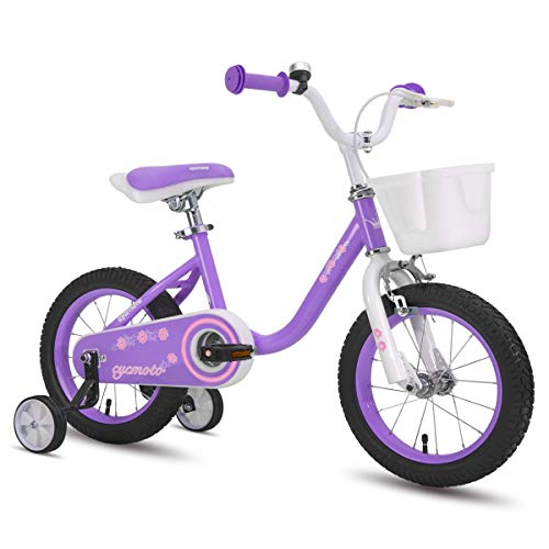 cycmoto Flower 14' Kids Bike with Basket, Hand Brake & Training Wheels for 3 4 5 Years Girls, Toddler Bicycle Purple
