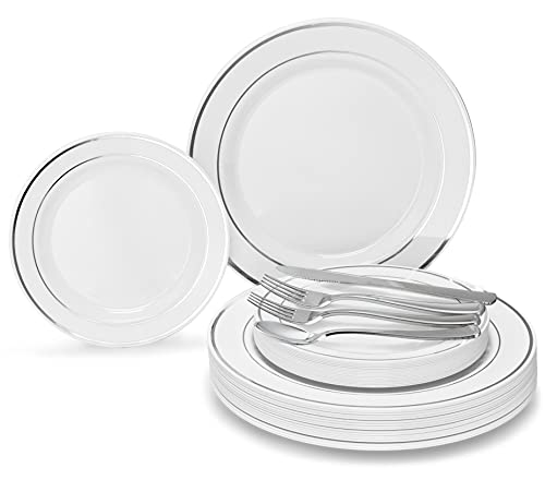 ' OCCASIONS' 150pcs set (25 Guests)-Wedding Plastic Plates & cutlery -Disposable heavyweight Dinnerware 10.5'', 7.5'' + Silverware w/double fork (White & Silver Rim)
