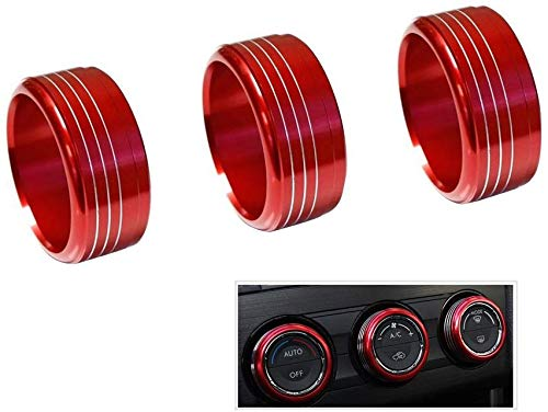 VORCOOL 3pcs Red Anodized Aluminum AC Climate Control Knob Ring Covers For Subaru WRX STI Impreza Forester XV Crosstrek (Red)