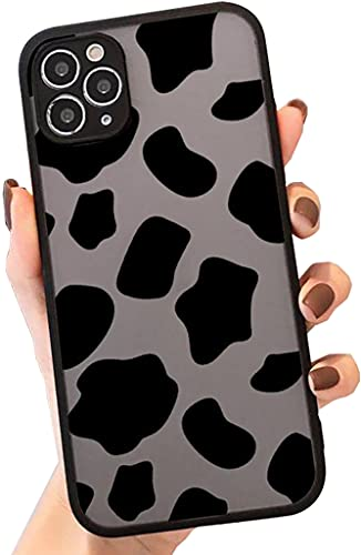 SUBESKING for iPhone 11 Pro Max Case,Translucent Matte Hard PC Back Cute Animal Cow Print Pattern,Designed for Women Girls Teen,Soft TPU Bumper Clear Protective Phone Cover for 11 Promax 6.5 Inch