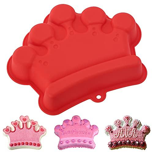 YISUYA Crown Cake Pan, 3D Crown Shape Baking Pan, Silicone Cake Mold Cake Pan, Silicone Baking Pan, Novelty Cake Molds Silicone, Wedding Christmas Birthday Cake Baking Pan, Cake Molds for Baking (Red)