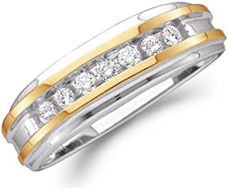 10k Yellow and White Two 2 Tone Gold Seven 7 Stone Channel Set Round Cut Mens Diamond Wedding Ring Band (1/4 cttw)