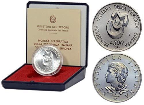 Italia 500 lire Argento'Presidenza Italiana Comunità Europea CEE' Fior di Conio FDC (11 gr. - 29 mm.) anno 1990 UNA MONETA da collezione Silver Coin IN CONFEZIONE ORIGINALE della Zecca