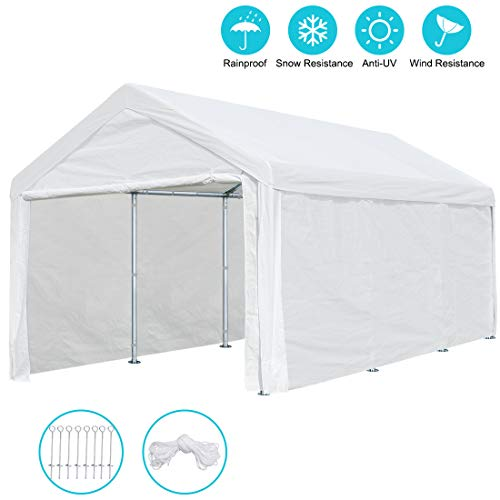 ADVANCE OUTDOOR 10 x 20 ft Heavy Duty Carport Canopy Car Garage Shelter Party Tent with Removable Sidewalls and Doors, White