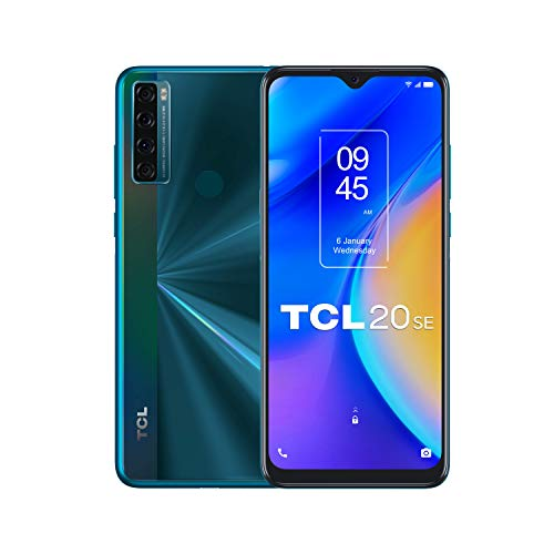 TCL 20 SE - Smartphone de 6.82' HD+ con NXTVISION (Qualcomm 460, 4G, 4GB/64GB Ampliable MicroSD, Dual SIM, Cámaras 16MP+5MP+2MP+2MP, Batería 5000mAh, Android 11) Verde