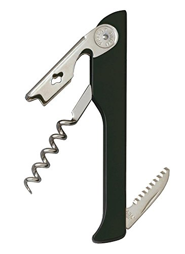 Hugger Waiter ABS Handle Corkscrew with Serrated Blade, Black