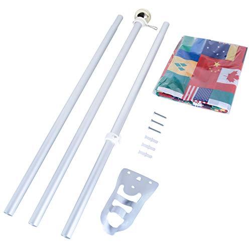 Lixure Aluminium Fahnenmasten Kit 6FT (1,82m) mit Wandhalterung und Fahne 150x90 cm Nationalflagge MEHRWEG