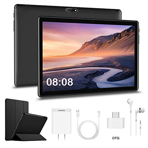 Tablet Android 10.1 Pollici con Wifi Offerte RAM da 3GB+32GB ROM(espandibile 128 GB)DUODUOGO 4G Tablet Android 9.0 Quad-Core 1.5 GHz Dual SIM Tablet Offerta Del Giorno con Netflix/OTG (Nero)