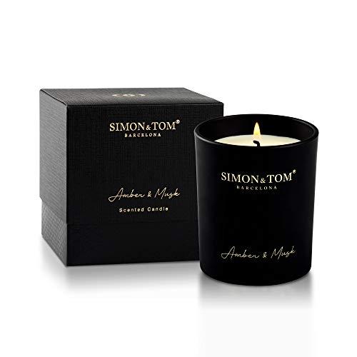 Simon & Tom Aromatische Luxus Duftkerze aus natürlichem SOYA WACHS. Langanhaltendes Duft mit einer Brenndauer von 100 Stunden. (BERNSTEIN & MOSCHUS), 250gr.