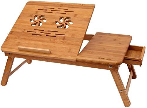Hshihai Schlafzimmermöbel Der Neue Bambus Faltbaren Laptoptisch Verstellbar Tragbares Laptop Steht Frühstück, Einschließlich Bett Tilt Obere Schublade Und Cupholder Tablett