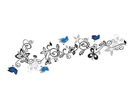 Fleur Vigne Papillons Stickers muraux Salon décor Bricolage Maison Autocollants Animaux Art Mural PVC Impression Affiches