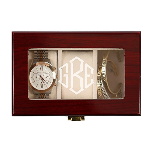 Personalisierte Direct Herren 's Monogramm 3 Slot Cherry Finish Holz Watch Fall